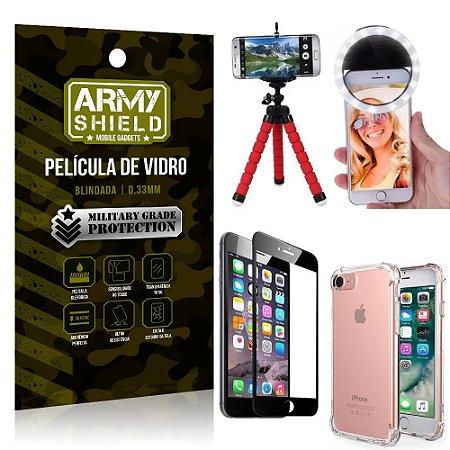 Kit Mini Tripé + Selfie Ring Light iPhone 6 - 6S + Capa Anti Impacto + Película Vidro 3D
