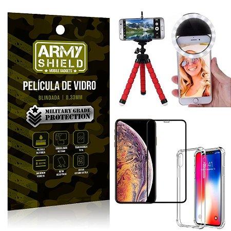 Kit Mini Tripé + Selfie Ring Light iPhone XS 5.8 + Capa Anti Impacto + Película Vidro 3D