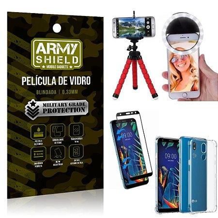 Kit Mini Tripé + Selfie Ring Light LG K12 K12 Plus + Capa Anti Impacto + Película Vidro 3D