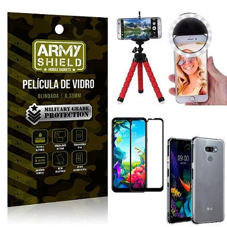 Kit Mini Tripé + Selfie Ring Light LG K40s + Capa Anti Impacto + Película Vidro 3D