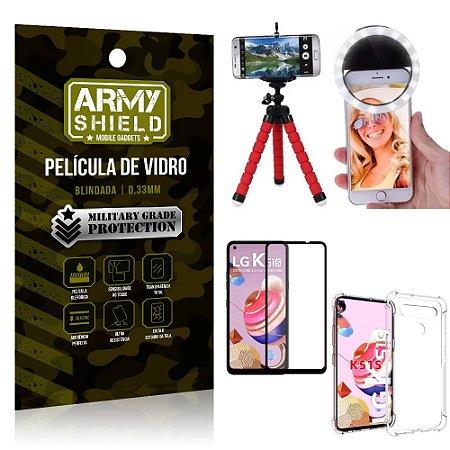 Kit Mini Tripé + Selfie Ring Light LG K51s + Capa Anti Impacto + Película Vidro 3D