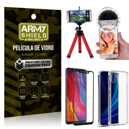 Kit Mini Tripé + Selfie Ring Light Mi 8 Pro + Capa Anti Impacto + Película Vidro 3D