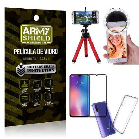 Kit Mini Tripé + Selfie Ring Light Mi 9 SE + Capa Anti Impacto + Película Vidro 3D