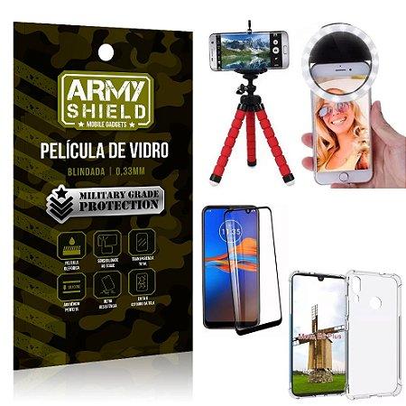 Kit Mini Tripé + Selfie Ring Light Moto E6 Plus + Capa Anti Impacto + Película Vidro 3D
