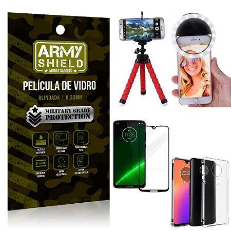 Kit Mini Tripé + Selfie Ring Light Moto G7 Plus + Capa Anti Impacto + Película Vidro 3D