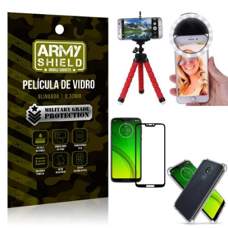 Kit Mini Tripé + Selfie Ring Light Moto G7 Power + Capa Anti Impacto + Película Vidro 3D