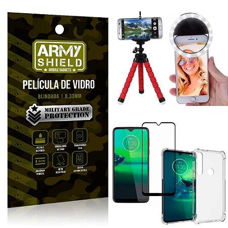 Kit Mini Tripé + Selfie Ring Light Moto G8 Plus + Capa Anti Impacto + Película Vidro 3D