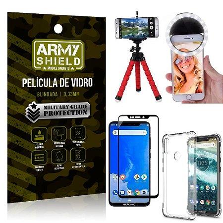 Kit Mini Tripé + Selfie Ring Light Moto One + Capa Anti Impacto + Película Vidro 3D