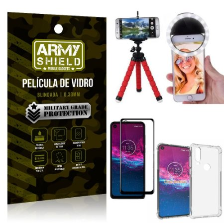 Kit Mini Tripé + Selfie Ring Light Moto One Action + Capa Anti Impacto + Película Vidro 3D