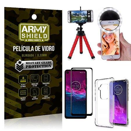 Kit Mini Tripé + Selfie Ring Light Moto One Zoom + Capa Anti Impacto + Película Vidro 3D