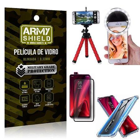 Kit Mini Tripé + Selfie Ring Light Redmi K20 Mi 9T + Capa Anti Impacto + Película Vidro 3D