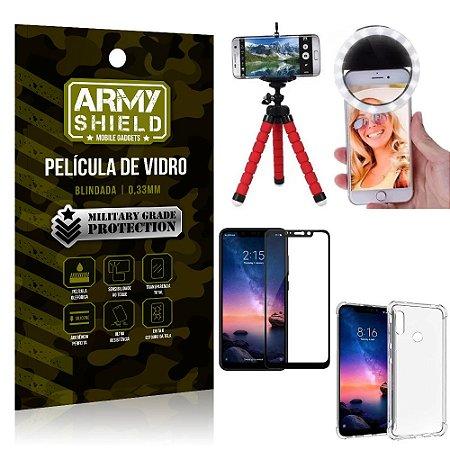 Kit Mini Tripé + Selfie Ring Light Redmi Note 6 Pro + Capa Anti Impacto + Película Vidro 3D