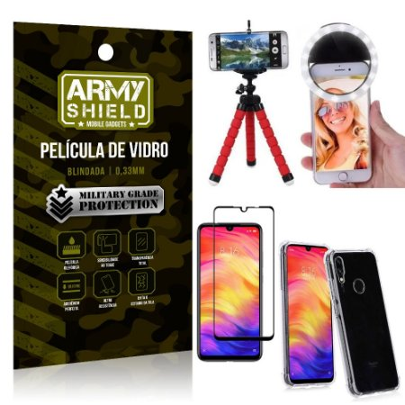 Kit Mini Tripé + Selfie Ring Light Redmi Note 7/Note 7 Pro + Capa Anti Impacto +Película 3D