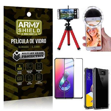 Kit Mini Tripé + Selfie Ring Light Zenfone 6 ZS630KL + Capa Anti Impacto +Película Vidro 3D