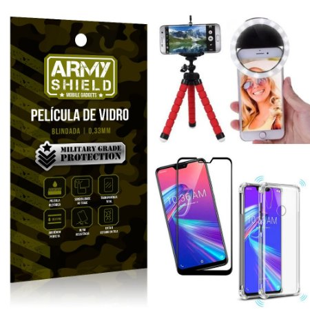 Kit Mini Tripé + Selfie Ring Light Zenfone Max Pro M2 ZB631KL + Capa Anti Impacto + Película 3D