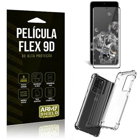 Capa Anti Impacto + Película Flex 9D Cobre a Tela Toda Blindada Galaxy S20 Ultra - Armyshield