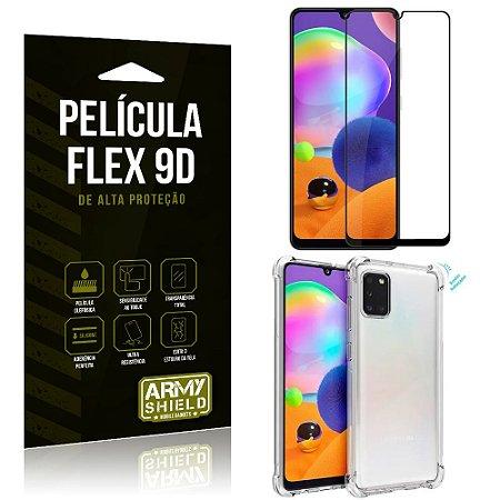 Capa Anti Impacto + Película Flex 9D Cobre a Tela Toda Blindada Galaxy A31 - Armyshield