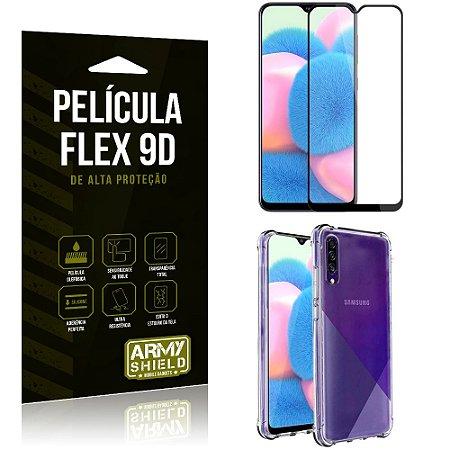 Capa Anti Impacto + Película Flex 9D Cobre a Tela Toda Blindada Galaxy A30S - Armyshield