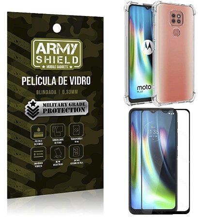 Kit Anti Impacto Moto G9 Play Capinha Anti Impacto + Película de Vidro 3D - Armyshield