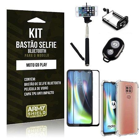 Kit Bastão de Selfie Bluetooth Moto G9 Play + Capinha Anti Impacto +Película Vidro 3D - Armyshield