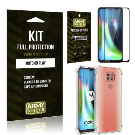 Kit Full Protection Moto G9 Play Película de Vidro 3D + Capa Anti Impacto - Armyshield