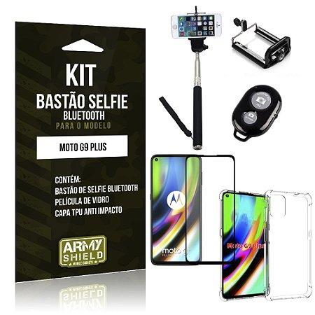 Kit Bastão de Selfie Bluetooth Moto G9 Plus + Capinha Anti Impacto +Película Vidro 3D - Armyshield