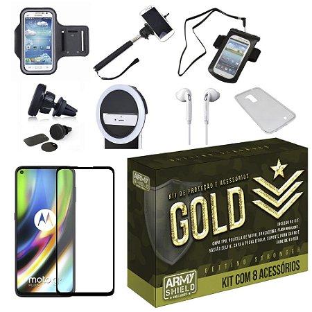 Kit Gold Moto G9 Plus com 8 Acessórios - Armyshield