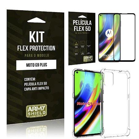 Kit Flex Protection Moto G9 Plus Capa Anti Impacto + Película Flex 5D - Armyshield