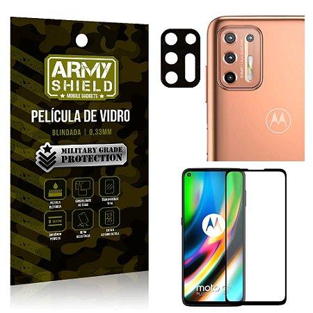 Kit Película de Lente Câmera Anti Risco + Película de Vidro 3D Moto G9 Plus - Armyshield