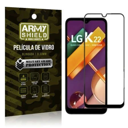 Película de Vidro Blindada 3D Cobre a Tela Toda  LG K22 - Armyshield
