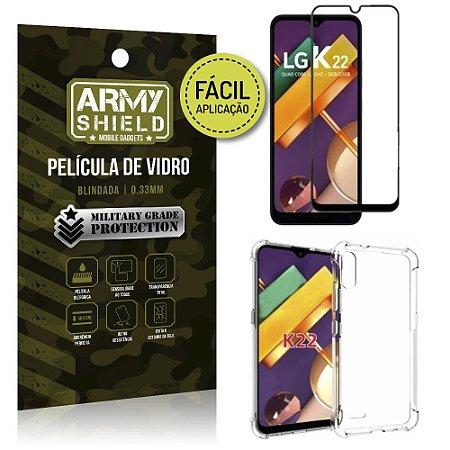 Kit Película 3D Fácil Aplicação LG K22 Película 3D + Capa Anti Impacto - Armyshield