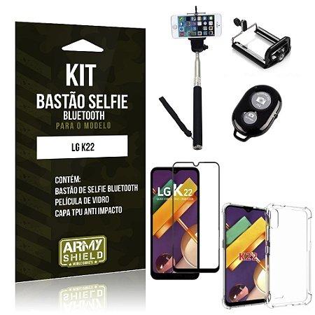 Kit Bastão de Selfie Bluetooth LG K22 + Capinha Anti Impacto +Película Vidro 3D - Armyshield