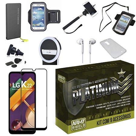Kit Platinum LG K22 com 9 Acessórios - Armyshield