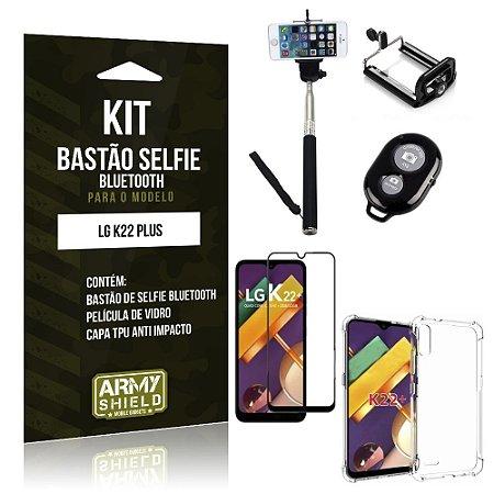 Kit Bastão de Selfie Bluetooth LG K22 Plus + Capinha Anti Impacto +Película Vidro 3D - Armyshield