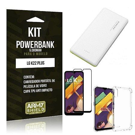 Kit Carregador Portátil 5K LG K22 Plus + Capa Anti Impacto +Película Vidro 3D - Armyshield