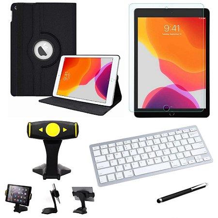 Capa Giratória iPad 7a Geração 2019 10.2' + Película + Teclado + Suporte Mesa + Caneta - Armyshield
