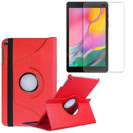 Capa Giratória Vermelha + Película de Vidro Blindada Samsung Galaxy Tab A 8.0' T290 T295 -Armyshield