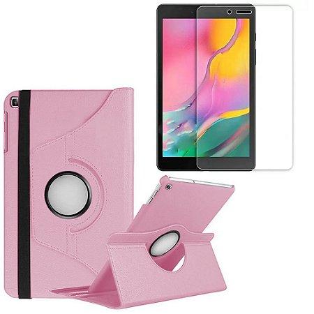 Capa Giratória Rosa Claro + Película Vidro Blindada Samsung Galaxy Tab A 8.0' T290 T295 - Armyshield
