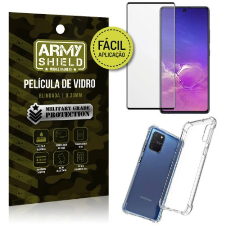 """Película de Vidro 3D para S10 Lite 6,7"""" + Capinha Anti Impacto - Armyshield"""