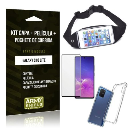 Kit Pochete Galaxy S10 Lite Pochete + Capinha Anti Impacto + Película de Vidro 3D - Armyshield