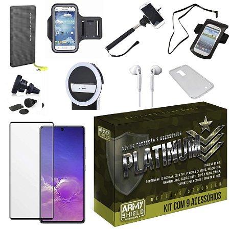 Kit Platinum para Galaxy S10 Lite com 8 Acessórios + Carregador Portatil Tipo C - Armyshield