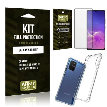 Kit Full Protection Galaxy S10 Lite Película de Vidro 3D + Capa Anti Impacto - Armyshield