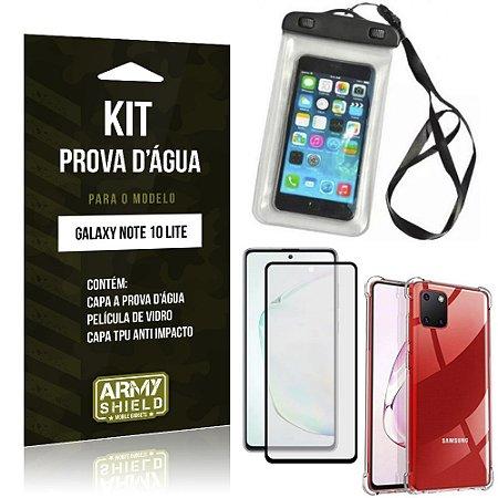 Kit Prova D'água Galaxy Note 10 Lite Capa Prova D'água + Capa Anti Impacto+ Película 3D - Armyshield
