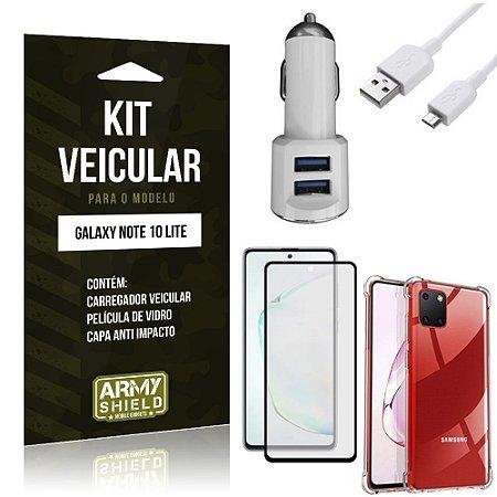 Kit Carregador Veicular Tipo C Galaxy Note 10 Lite + Capa Anti Impacto + Película 3D - Armyshield