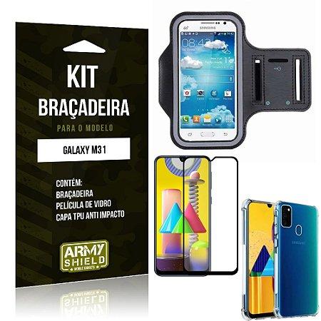 Kit Braçadeira Galaxy M31 Braçadeira + Capinha Anti Impacto + Película de Vidro 3D - Armyshield