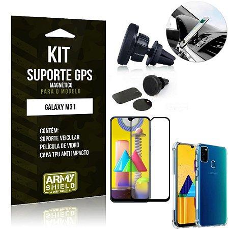 Kit Suporte Veicular Magnético Galaxy M31 + Capa Anti Impacto +Película Vidro 3D - Armyshield