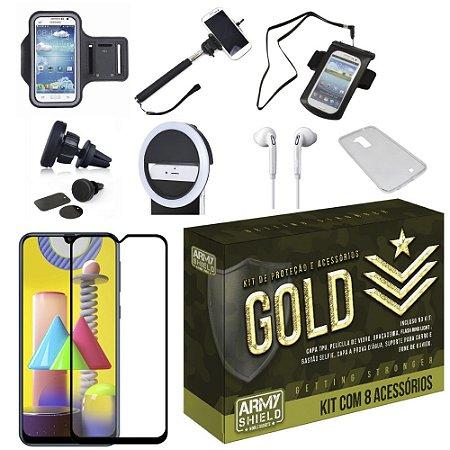 Kit Gold Galaxy M31 com 6 Acessórios + Capinha + Pelicula 3D - Armyshield