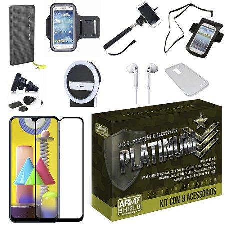 Kit Platinum Galaxy M31 com 8 Acessórios + Carregador Portatil 10k Tipo C - Armyshield