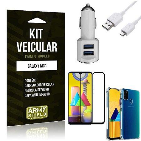 Kit Carregador Veicular Tipo C Galaxy M31 + Capa Anti Impacto + Película Vidro 3D - Armyshield
