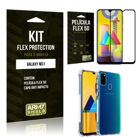 Kit Flex Protection Galaxy M31 Capa Anti Impacto + Película Flex 5D - Armyshield
